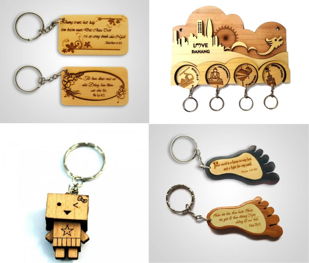 Đặt làm móc khóa theo yêu cầu bằng gỗ
