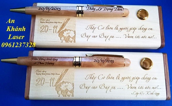 Khắc bút gỗ bằng công nghệ laser tại An Khánh