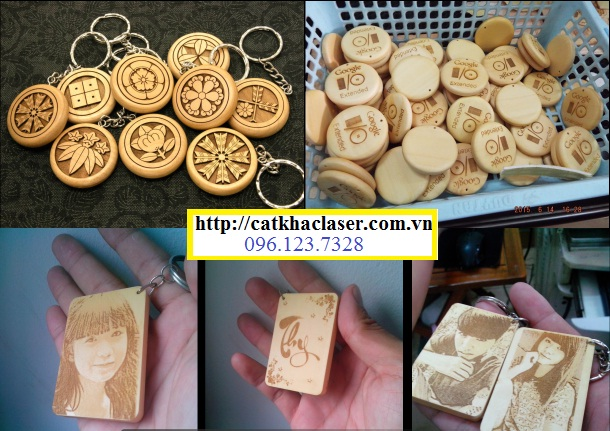 Khắc móc khóa quà tặng bằng gỗ