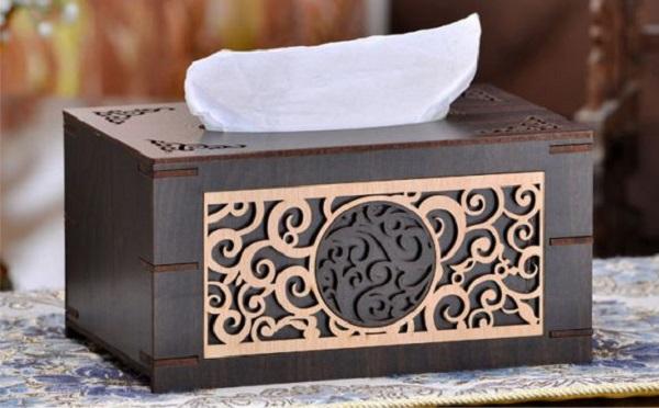 Khắc hộp gỗ để giấy