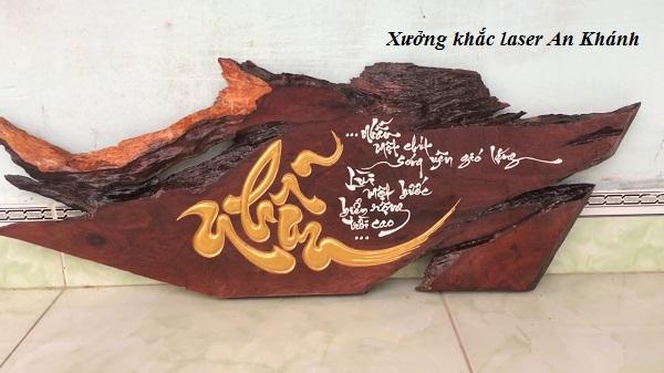 Sản phẩm khắc chữ thư pháp trên gỗ tại An Khánh
