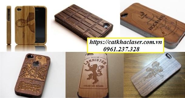 Khắc laser trên điện thoại bằng gỗ