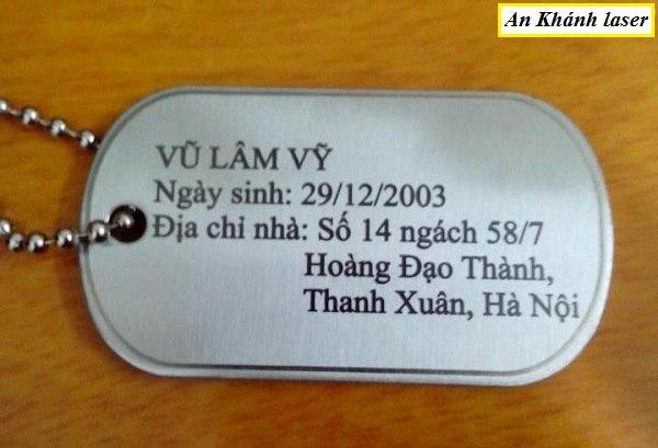 Làm thẻ dogtag giá rẻ Hà Nội