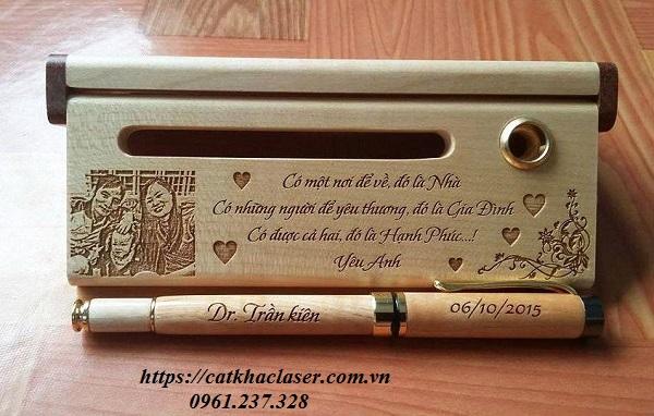 Khắc bút viết - hộp bút làm quà tặng