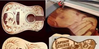 Khắc đàn guitar giá rẻ bằng công nghệ laser
